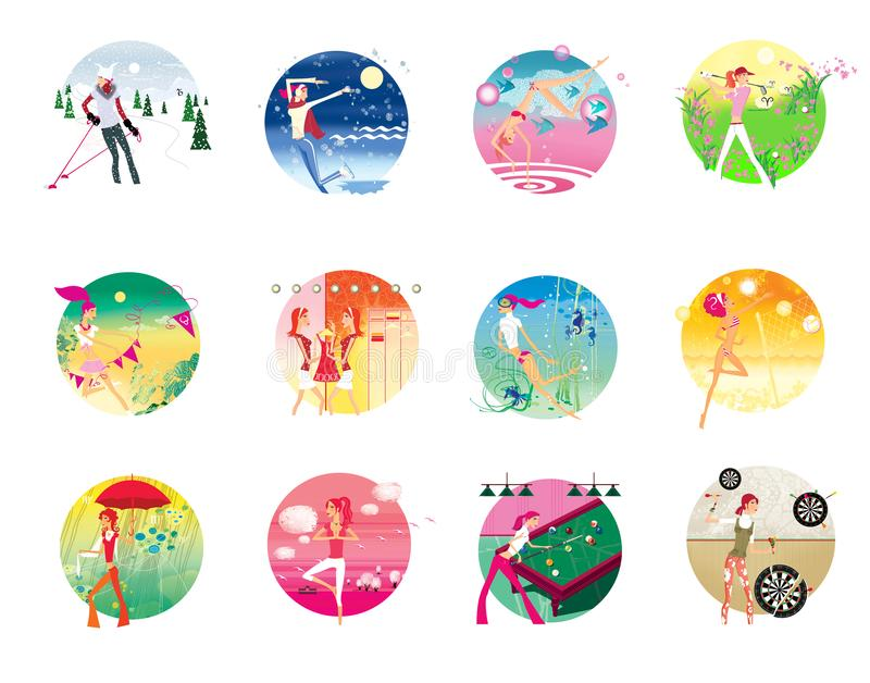 Zodiac sports lady. Set of 12  images of a young girl in a zodiac sign on a complex background stock illustration