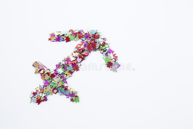 Zodiac symbol sagittarius multicolor isolated in a white background royalty free stock images