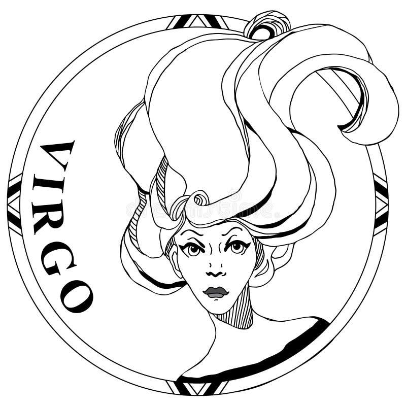 Zodiac Virgo lineart σύμβολο ελεύθερη απεικόνιση δικαιώματος
