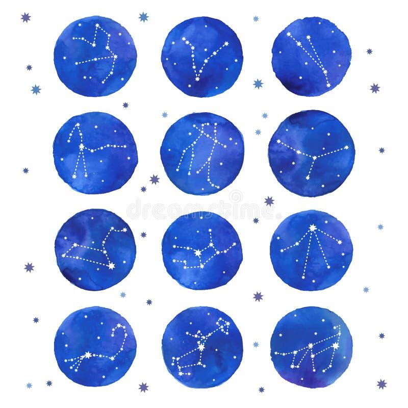 Zodiac Watercolor αστερισμοί καθορισμένοι απεικόνιση αποθεμάτων