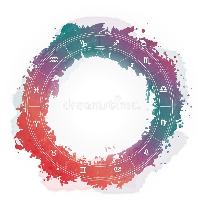 Zodiac wheel monochrome, horoscope chart.  royalty free illustration