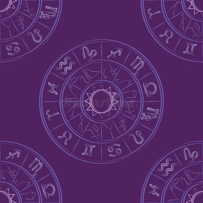 Zodiac wheel seamless pattern. On purple background stock illustration
