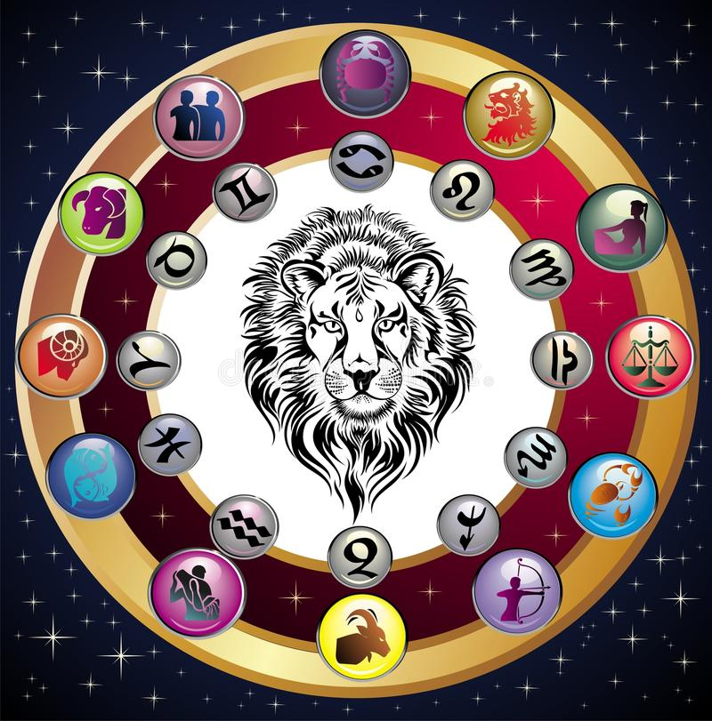 Zodiac Wheel with sign of Leo. vector illustration