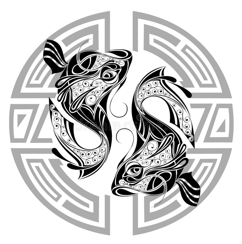 Zodiac wheel with sign of Pisces.Tattoo design. Fish pisces zodiac water sea sign astrology horoscope wheel tattoo vector illustration