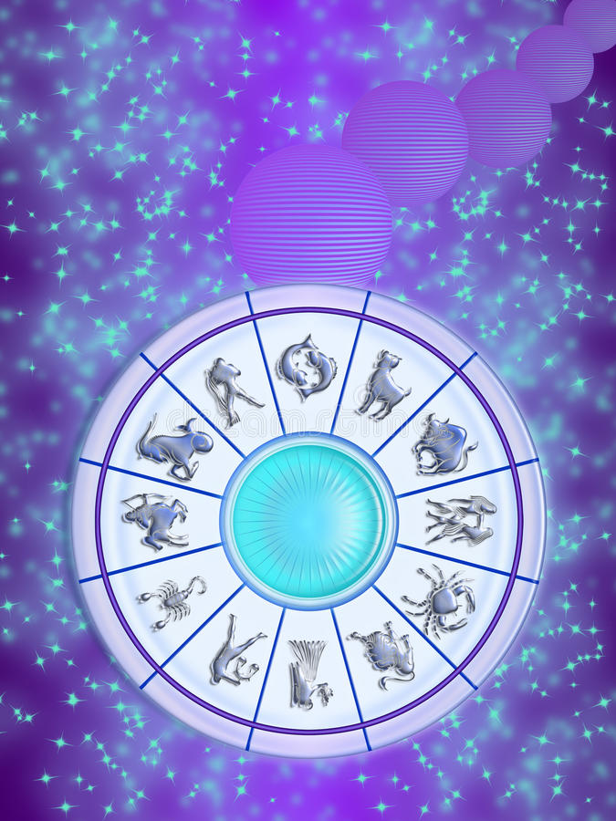 Zodiac wheel in the sky. Zodiac wheel isolated on the sky, stars and planets stylized. the twelve signs of the zodiac vector illustration