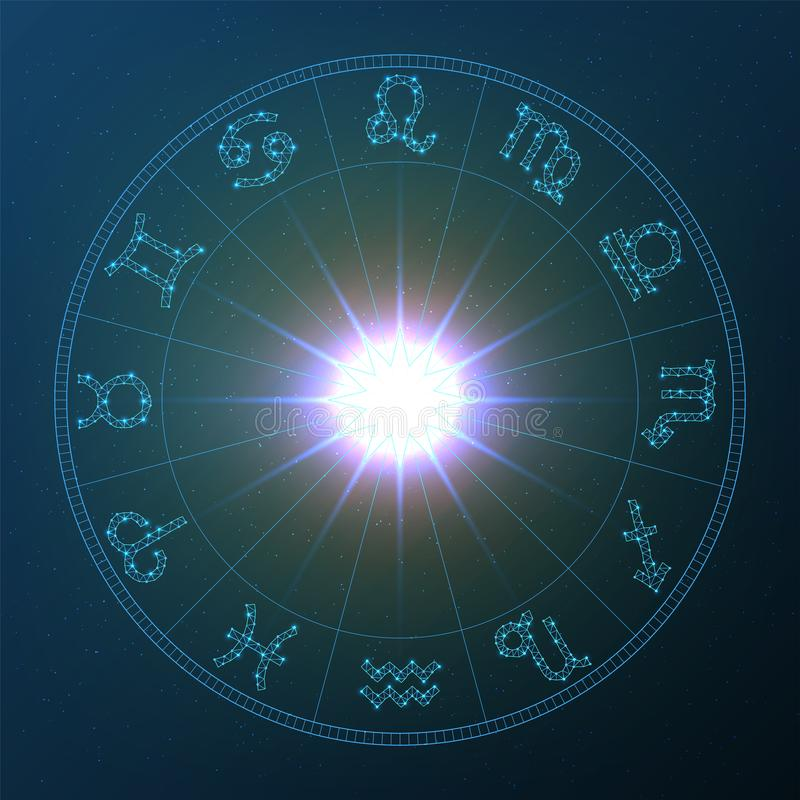 Zodiac Wheel, vector zodiac wheel with zodiac signs on a space background vector illustration