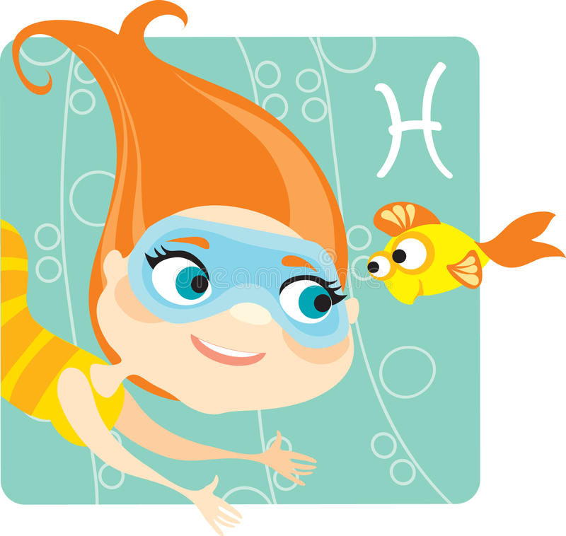 Download Zodiacal signs Pisces stock vector. Image of maiden, diving - 14833855