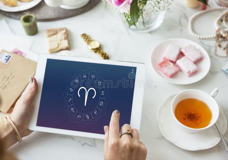 Zodiaco Aries Sigh Astrology Concept fotografia stock libera da diritti