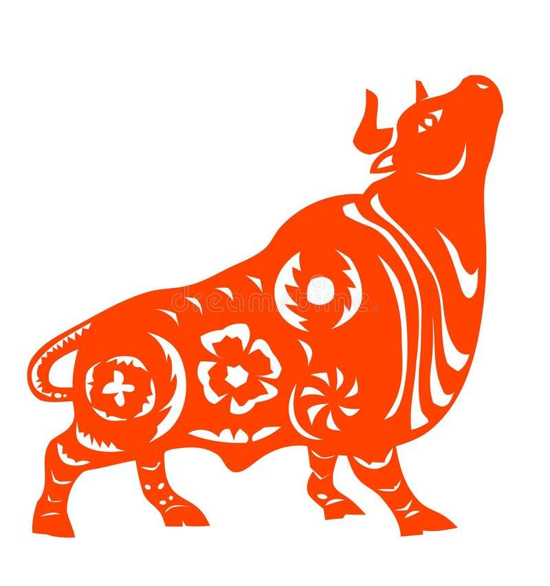 Zodiaco chino del buey stock de ilustración