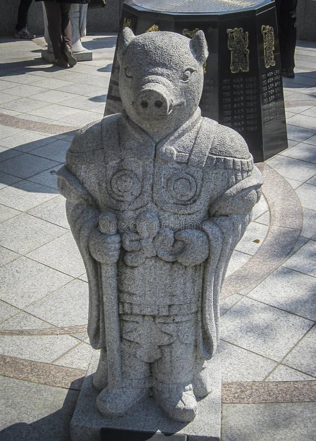 Zodiaco chino, estatua de piedra del cerdo en Seul foto de archivo