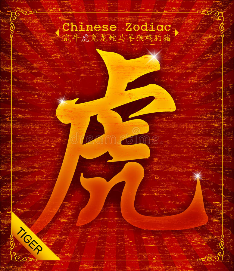 Zodiaco cinese - anno della tigre royalty illustrazione gratis