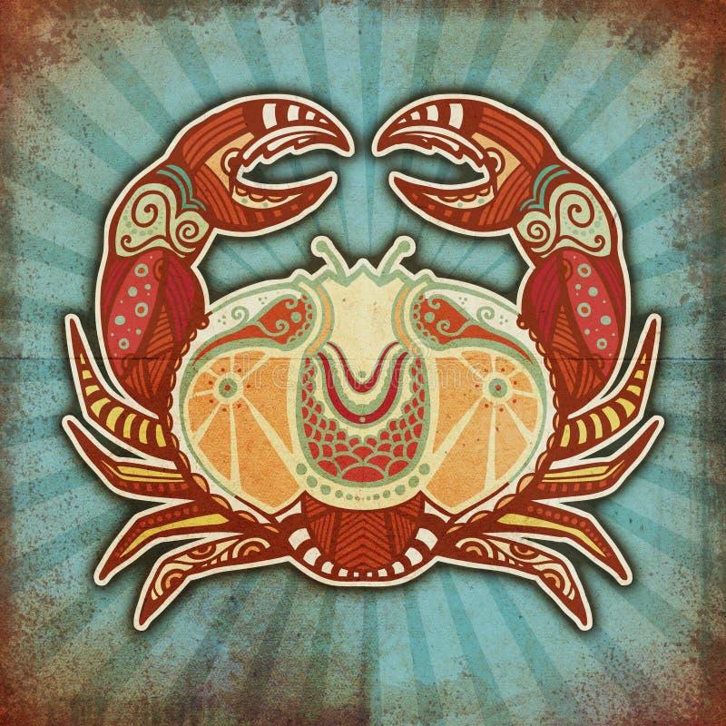 Zodiaco de Grunge - cáncer stock de ilustración
