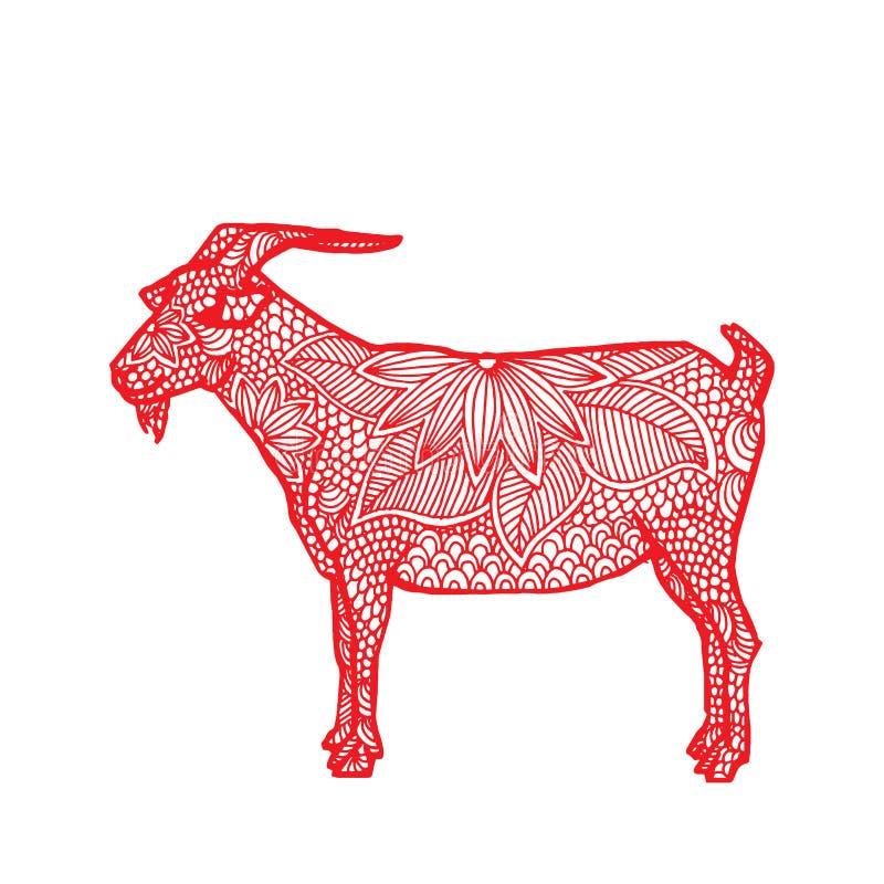 Zodiaco del chino de la cabra ilustración del vector