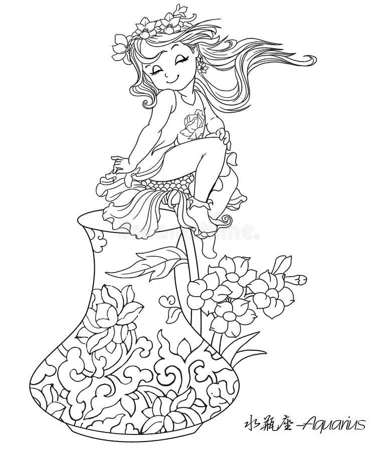 Zodiaco dell'elemento portante di acqua o del Aquarius dodici royalty illustrazione gratis