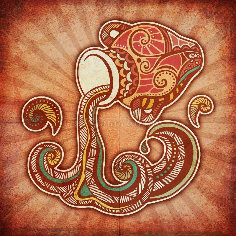 Zodiaco di Grunge - Aquarius illustrazione vettoriale