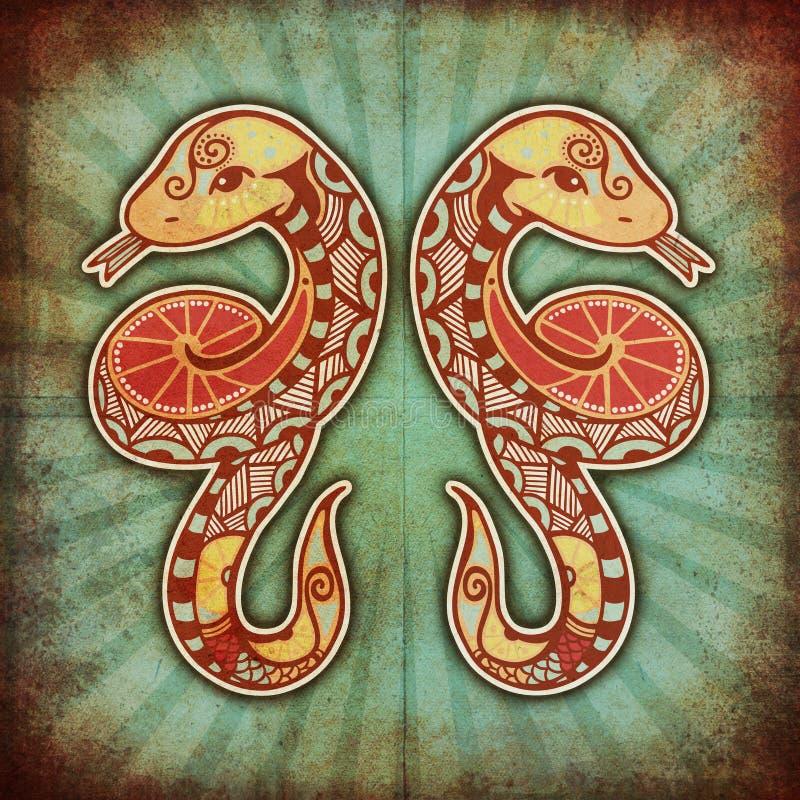 Zodiaco di Grunge - Gemini royalty illustrazione gratis