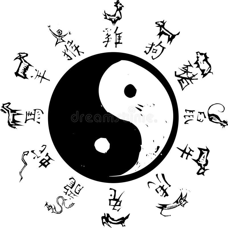 Zodiaco di Yin Yang royalty illustrazione gratis