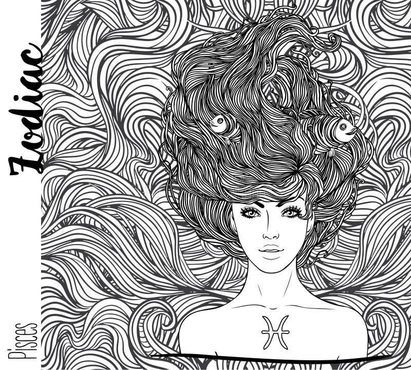 Zodiaco: Ejemplo de la muestra del zodiaco de Piscis como muchacha hermosa ilustración del vector