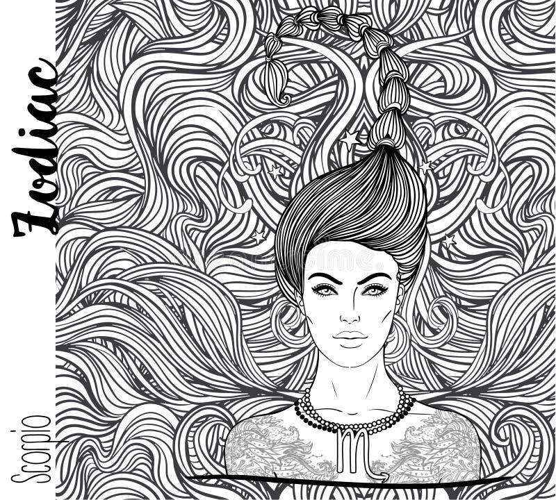 Zodiaco: Ejemplo de la muestra del zodiaco del escorpión como muchacha hermosa ilustración del vector