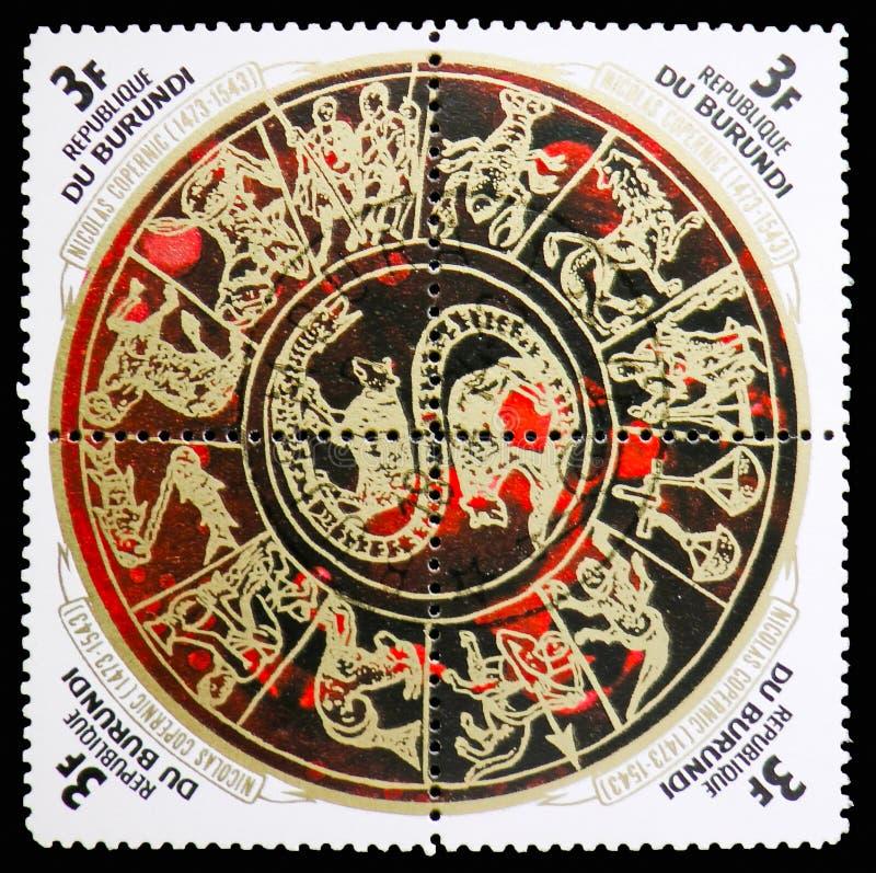 Zodiaco, el 500o aniversario del nacimiento del serie de Copernicus, circa 1973 foto de archivo libre de regalías