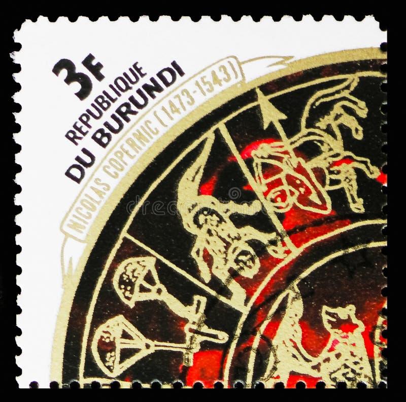 Zodiaco, el 500o aniversario del nacimiento del serie de Copernicus, circa 1973 fotografía de archivo