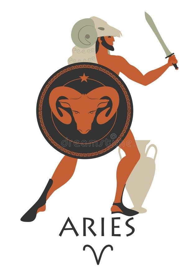 Zodiaco en el estilo de Grecia antigua aries ilustración del vector