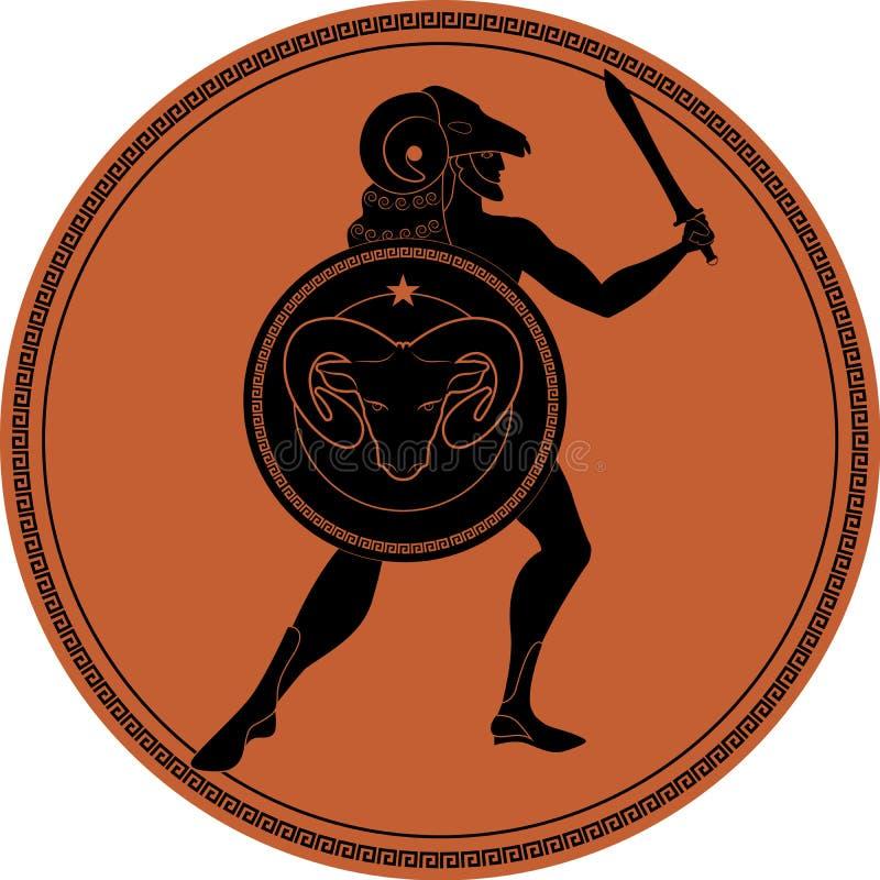 Zodiaco en el estilo de Grecia antigua aries libre illustration