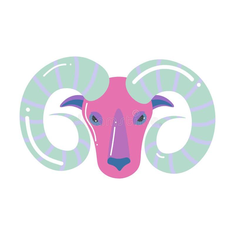 Zodiaco grigio rosa di ariete di colore, progettazione moderna illustrazione vettoriale