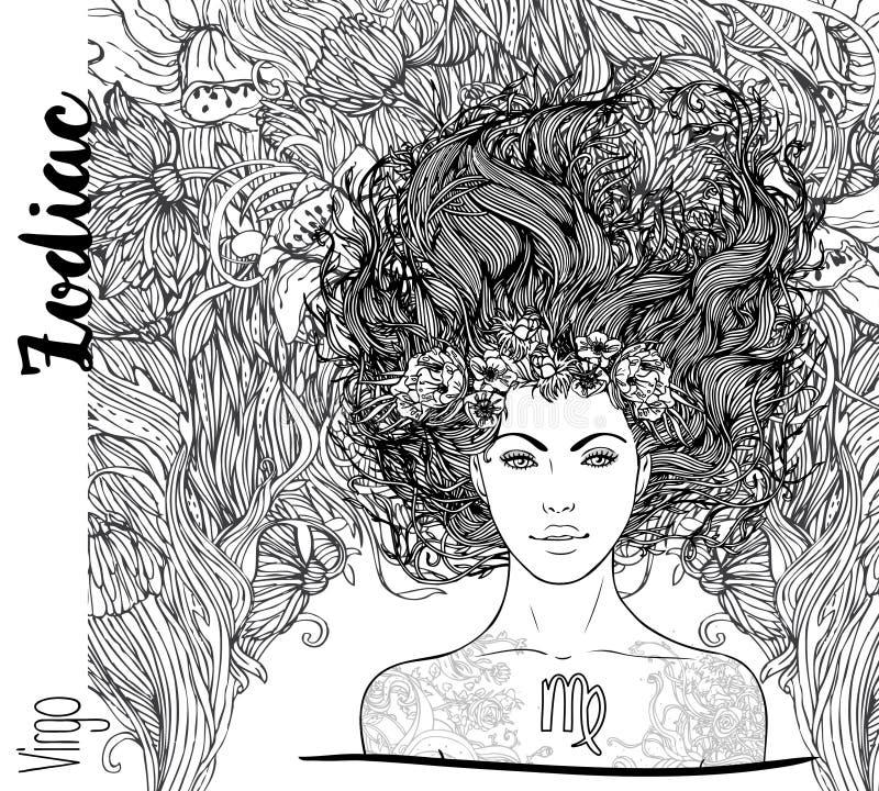 Zodiaco: illustrazione del segno dello zodiaco del Vergine come bella ragazza V illustrazione vettoriale