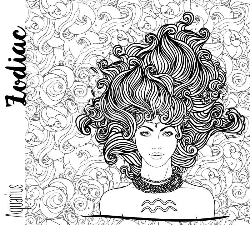 Zodiaco: Illustrazione del segno dello zodiaco di acquario come bella ragazza royalty illustrazione gratis