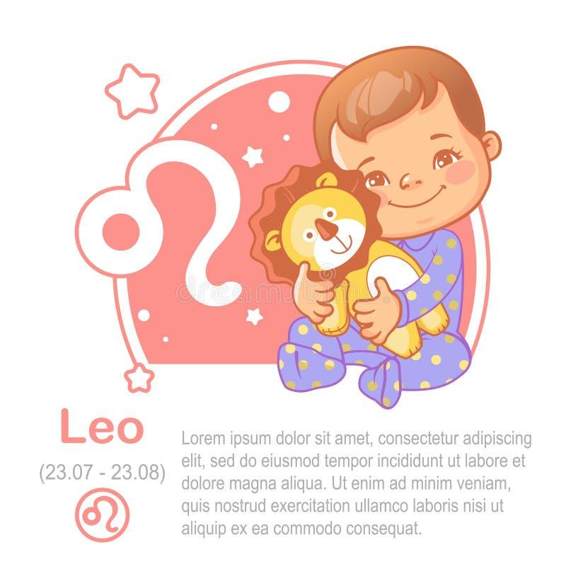 Zodiaco leo del bebé ilustración del vector