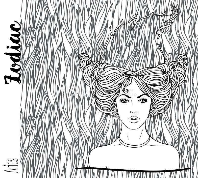 Zodiaco: Muestra del zodiaco del aries Ejemplo del vector con el retrato de libre illustration