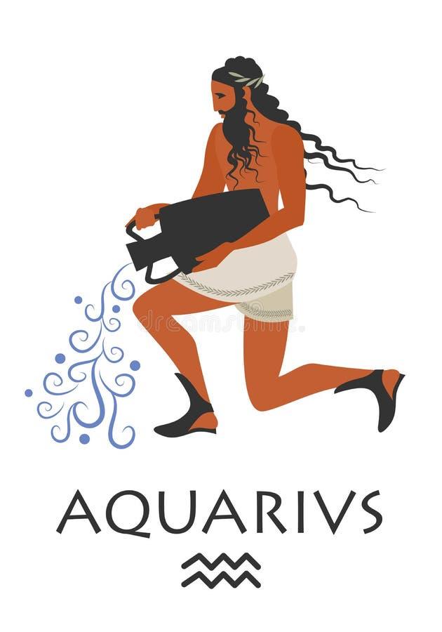 Zodiaco nello stile della Grecia antica aquarius illustrazione di stock