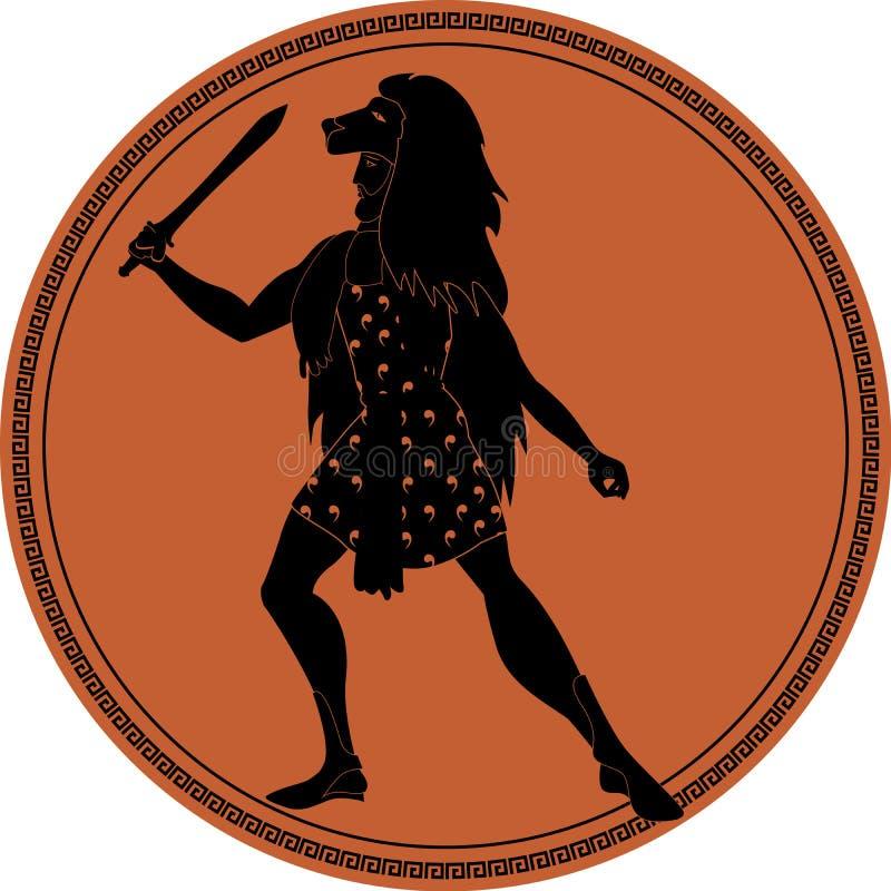 Zodiaco nello stile della Grecia antica leo royalty illustrazione gratis