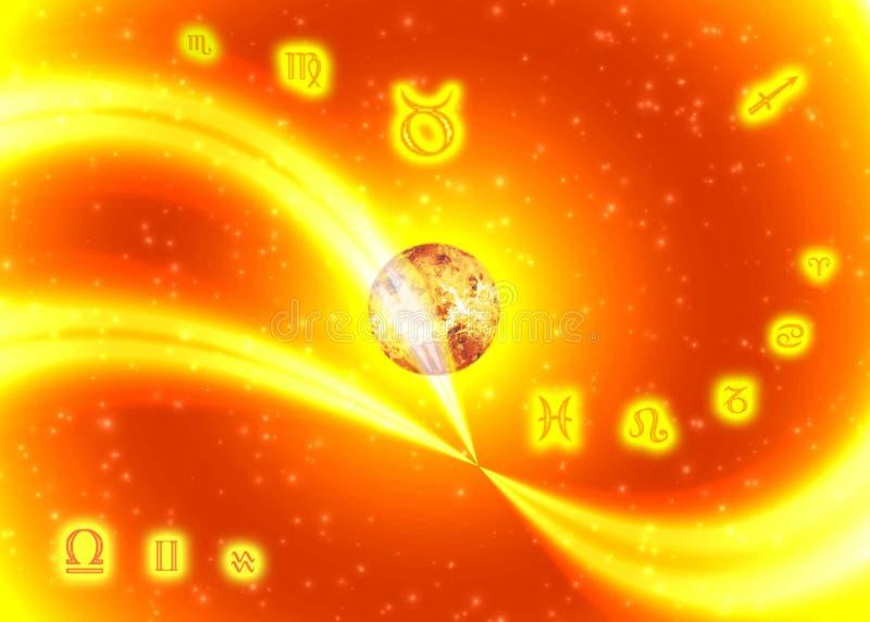 Zodiaco pieno di sole di simboli illustrazione di stock