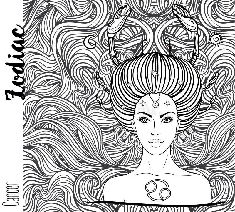 Zodiaco: segno dello zodiaco del cancro come bella ragazza Illustrat di vettore illustrazione vettoriale