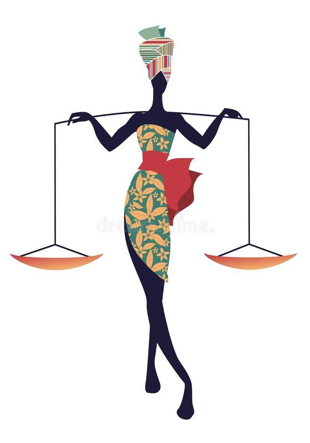 Zodiaco tribal Libra Mujer elegante en el vestido de flores y el turbante, llevando una escala en sus hombros stock de ilustración