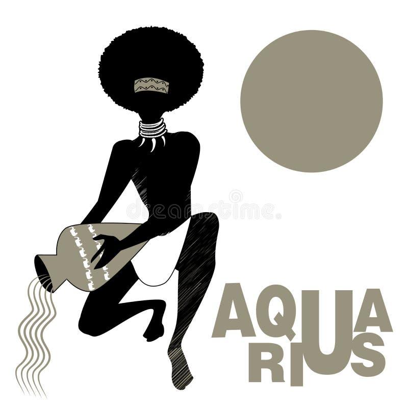 Zodiaco tribale aquarius Uomo con le collane delle zanne, accovacciandosi tenendo una nave, acqua di versamento Acquario illustrazione di stock