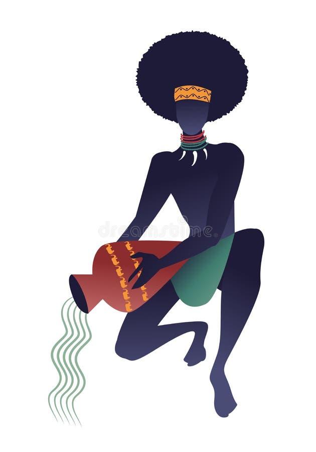 Zodiaco tribale aquarius Uomo con le collane delle zanne, accovacciandosi tenendo una nave, acqua di versamento Acquario illustrazione vettoriale