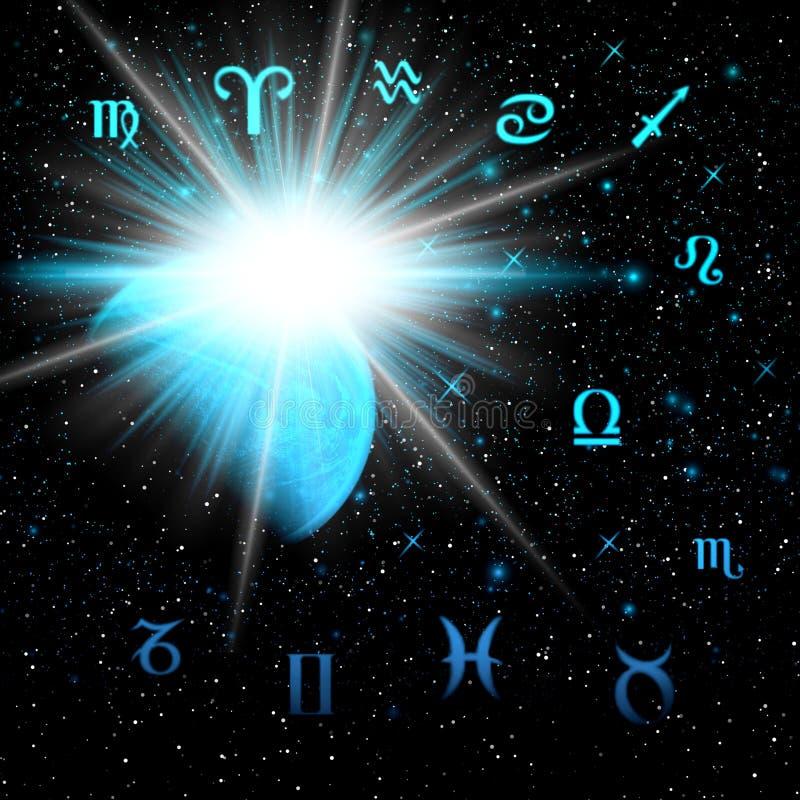 Zodiaco in uno spazio di notte royalty illustrazione gratis
