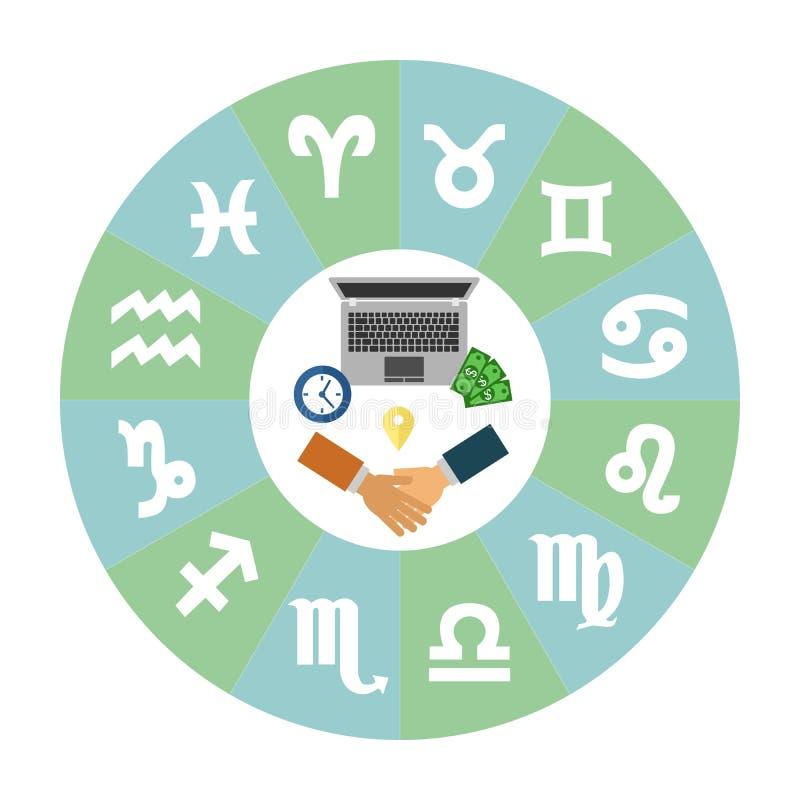 Zodiaco y negocio stock de ilustración