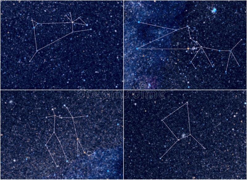 Zodiaków gwiazdozbiorów Aries Taurus gemini nowotwór zdjęcie stock