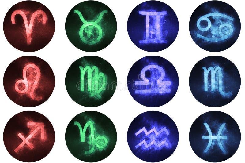 Zodiaków znaków guziki Set horoskopów symbole, astrologii ikony royalty ilustracja