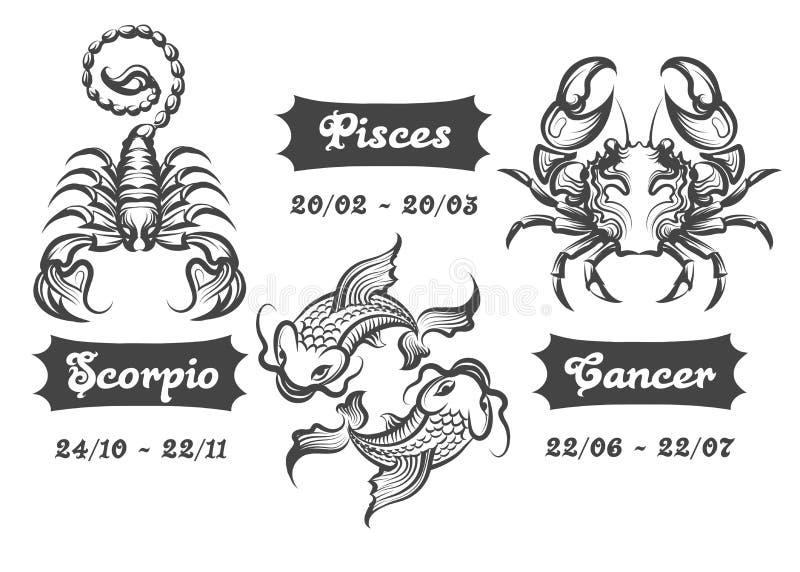 Zodiaków znaki skorpionu nowotwór i ryba royalty ilustracja