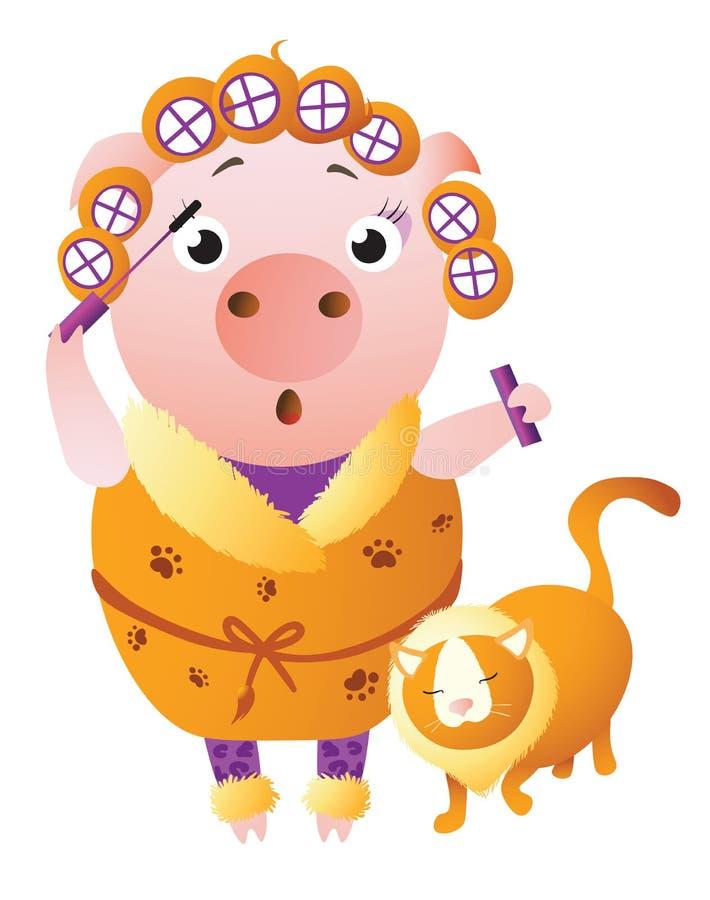 Zodiak świnia Leo Chiński horoskopu symbol 2019 rok royalty ilustracja