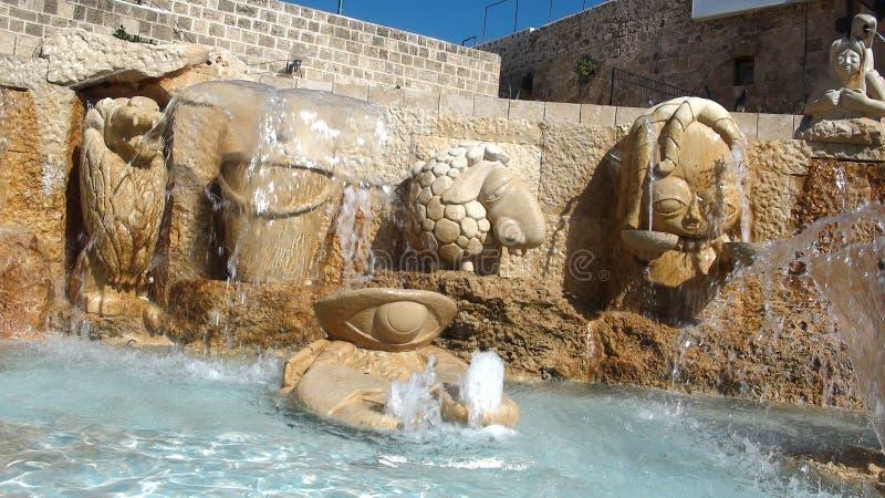 Zodiak aleje, fontanna Astrologiczni znaki, Jaffa Stary miasto, Tel Aviv fotografia royalty free