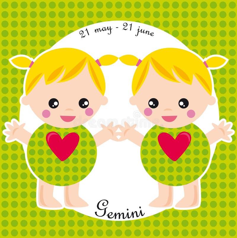 zodiak bliźnięta ilustracji