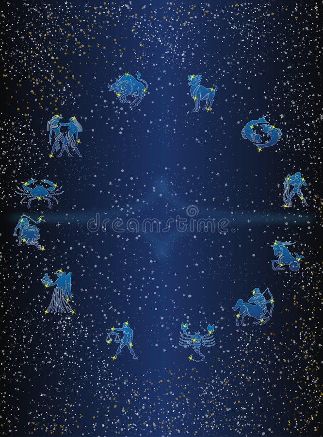 Download Zodiak circle postcard stock image. Image of twelve, stars - 4412527