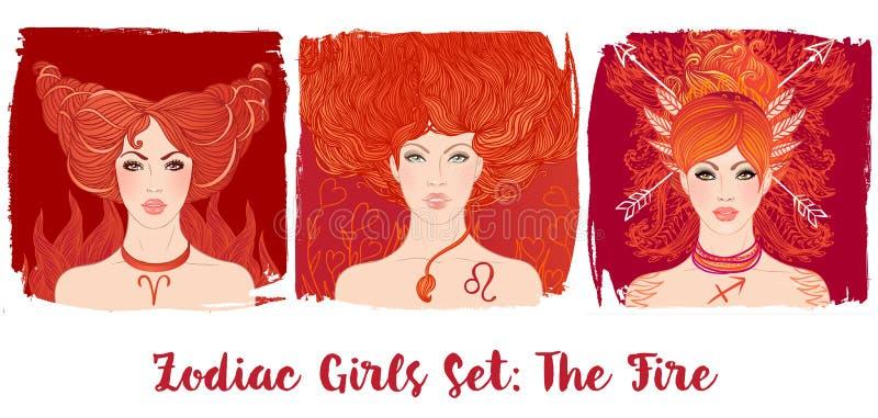 Zodiak dziewczyny ustawiać: Ogień Wektorowa ilustracja Pisces astrologic ilustracja wektor