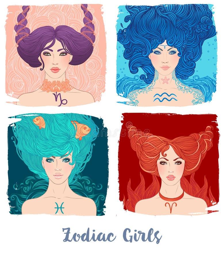 Zodiak dziewczyny ustawiać: wektorowa ilustracja astrologiczni znaki jako a ilustracja wektor